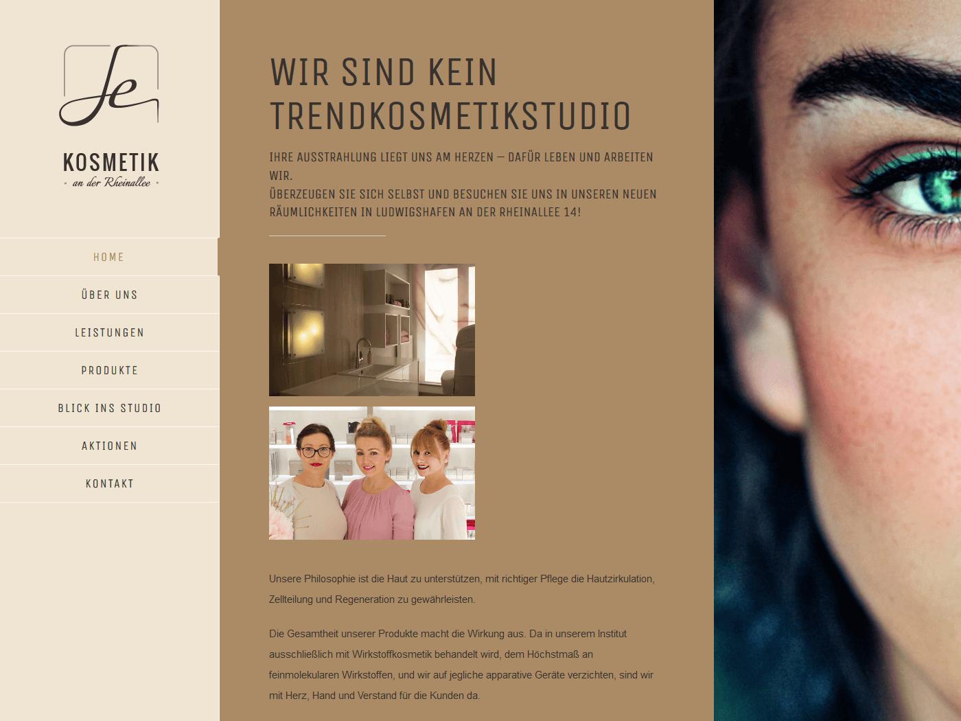 responsive Webdesign Kosmetik an der Rheinallee, Startseite