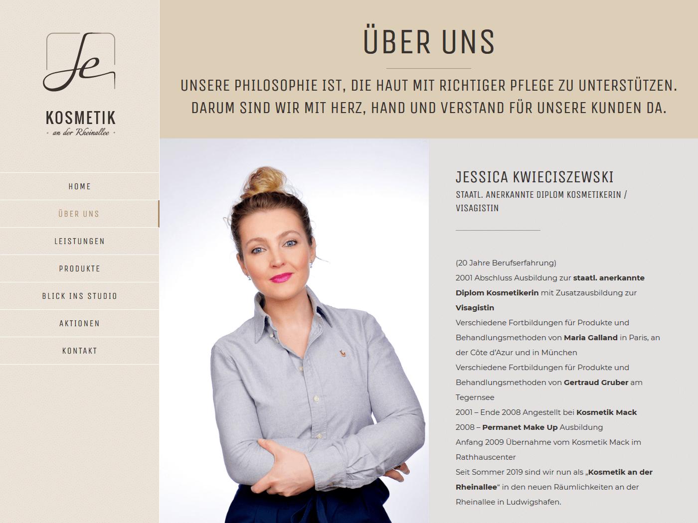 responsive Webdesign Kosmetik an der Rheinallee, über uns