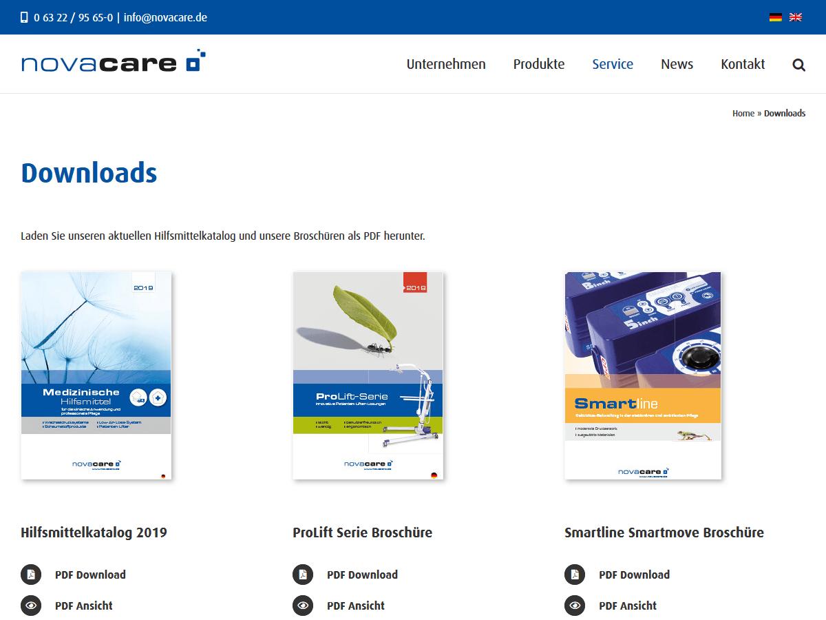 responsive Webdesign novacare GmbH, Downloads