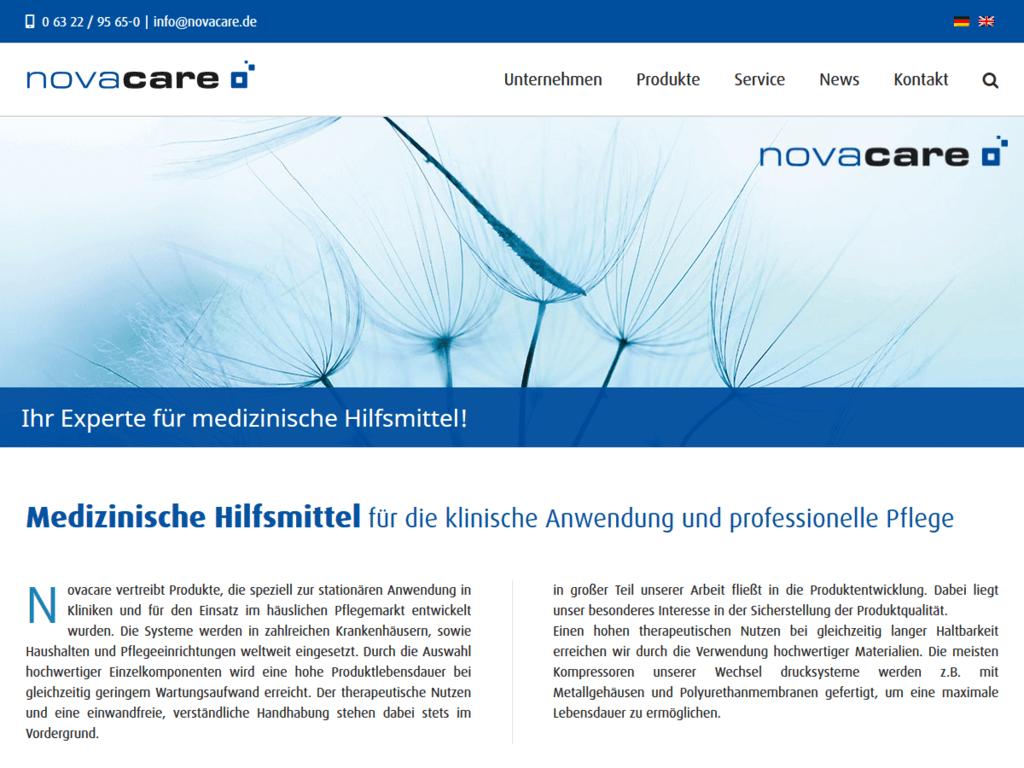 responsive Webdesign novacare GmbH, Startseite
