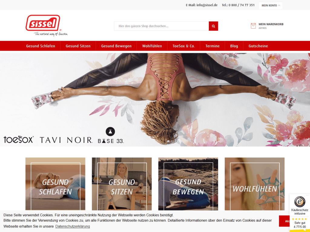 responsive Webdesign sissel Shop, Startseite