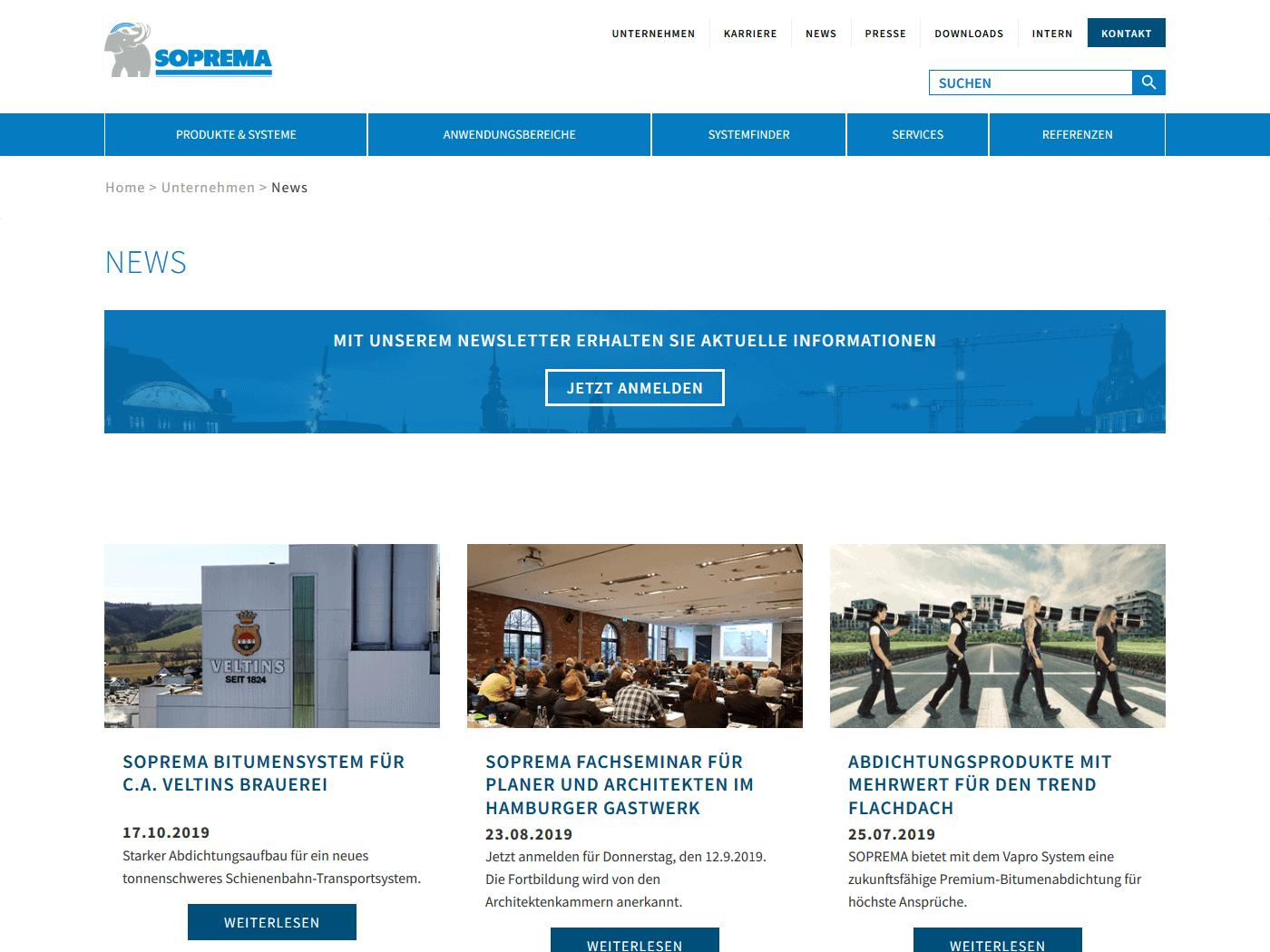 responsive Webdesign Soprema GmbH, News