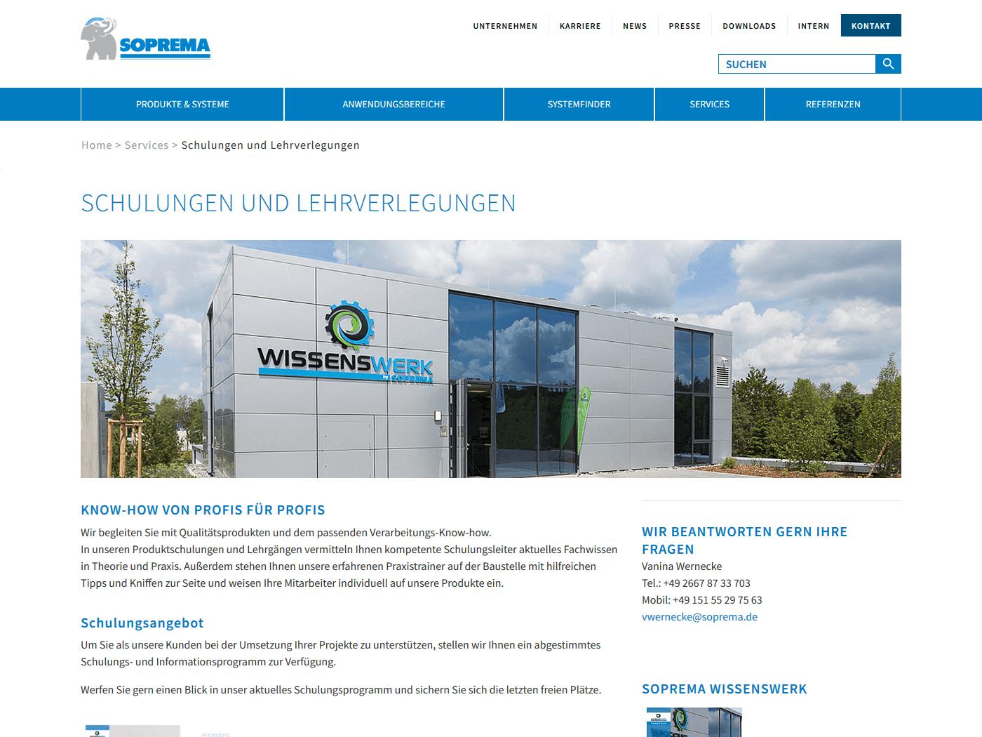 responsive Webdesign Soprema GmbH, Schulungen