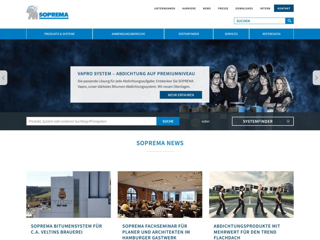 responsive Webdesign Soprema GmbH, Startseite