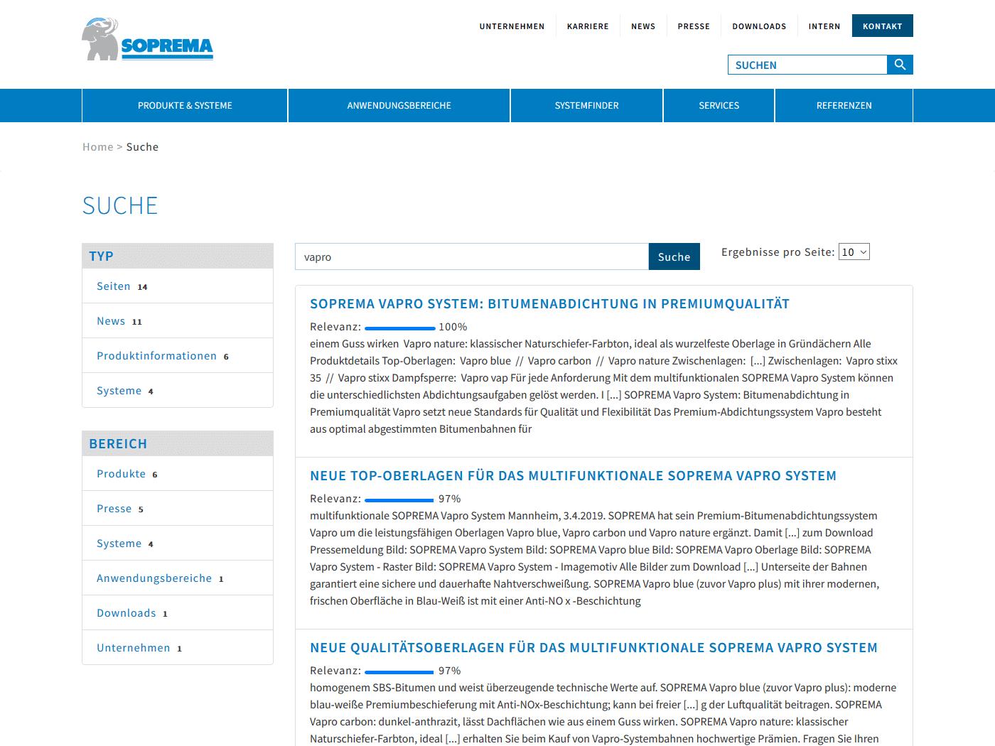 responsive Webdesign Soprema GmbH, Solr Suche