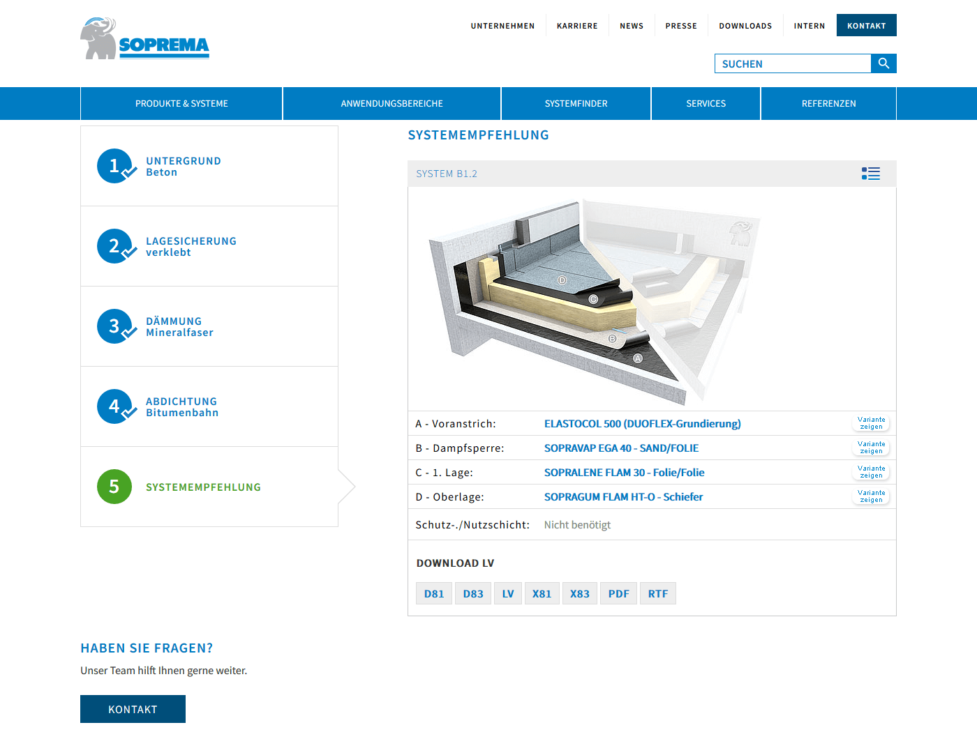 responsive Webdesign Soprema GmbH, Systemfinder