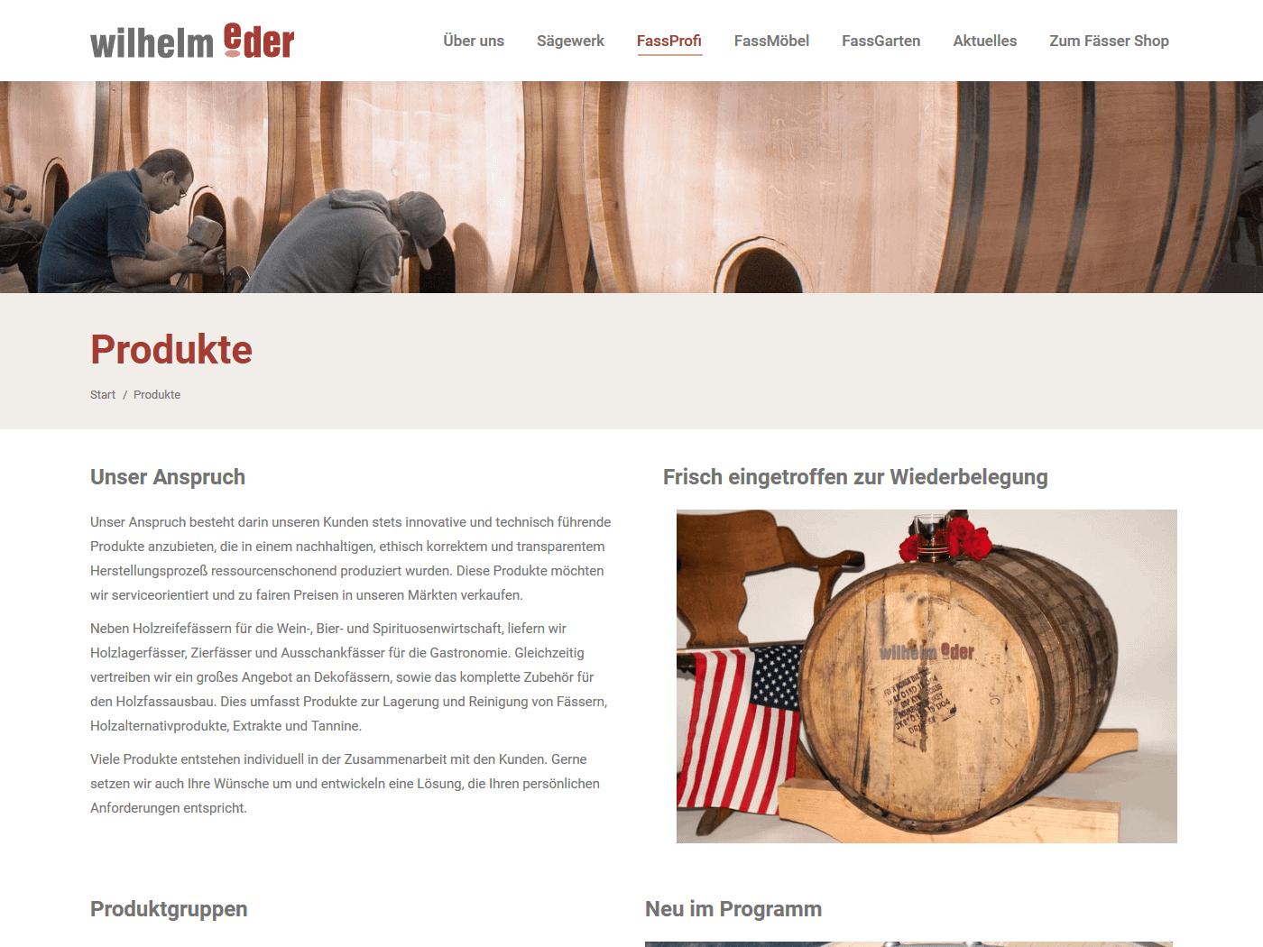 responsive Webdesign Wilhelm Eder GmbH, Fässer