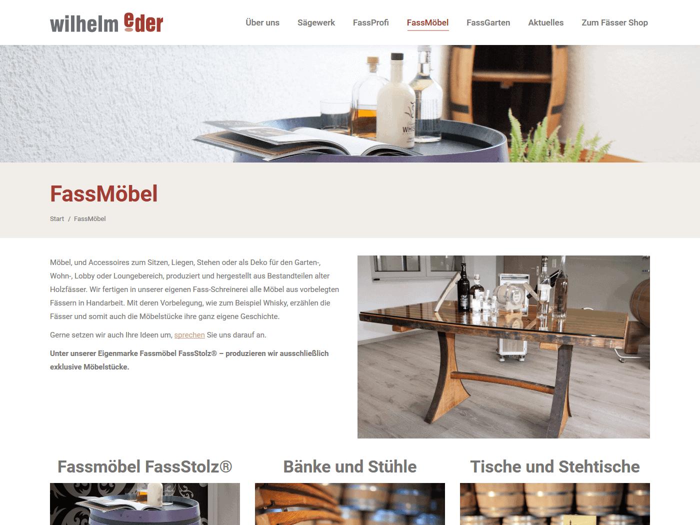 responsive Webdesign Wilhelm Eder GmbH, FassMöbel