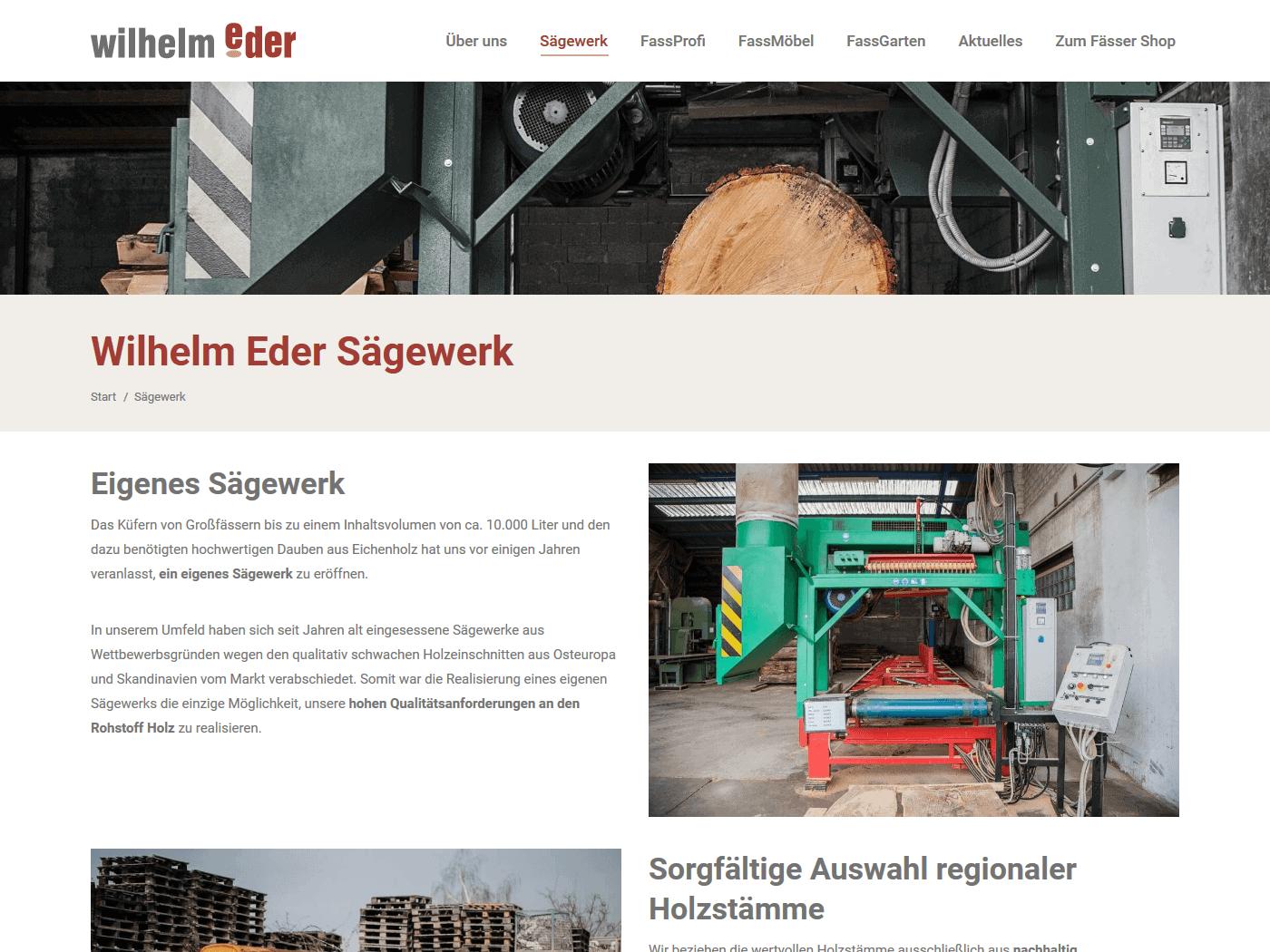 responsive Webdesign Wilhelm Eder GmbH, Sägewerk