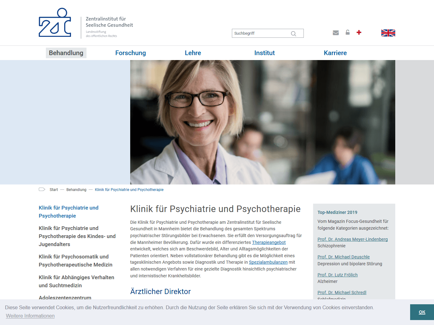 responsive Webdesign ZI Mannheim, Klinik