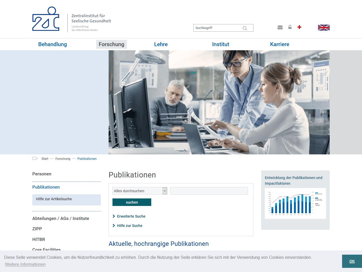 responsive Webdesign ZI Mannheim, Publikationen