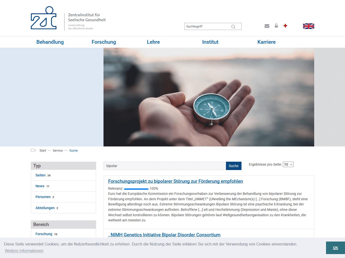 responsive Webdesign ZI Mannheim, Solr Suche