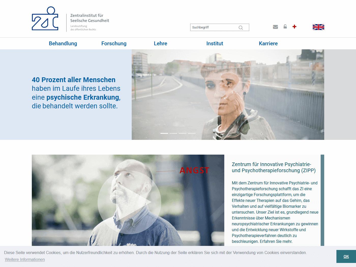 responsive Webdesign ZI Mannheim, Startseite