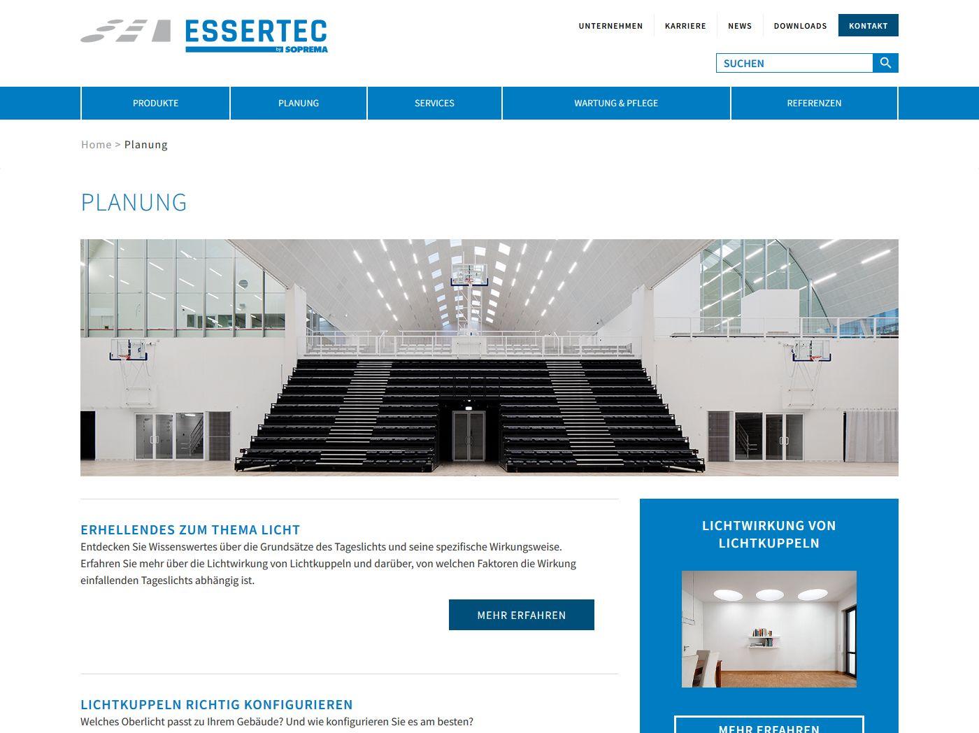 responsive Webdesign ESSERTEC GmbH, Planung